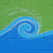 Art Block Collections - Blue Wave on Green
