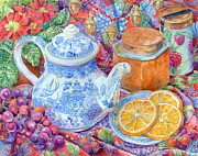 Blue Willow Tea Print by Barbara Timberman