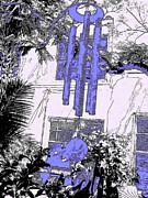 Wind Chimes Prints - Blue Wind Chimes 8 Print by Nina Kaye