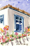 Greece Watercolor Paintings - Blue window by Mariela Constantinidis