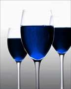 White Wine Mixed Media Prints - blue Wine Print by Michael Knight