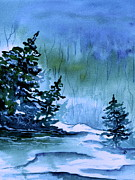 Snowy Trees Paintings - Blue Winter  by Brenda Owen