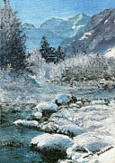 Rural Scenes Paintings - Blue Winter by Mary Ellen Anderson