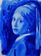 Girl With A Pearl Earring Paintings - Blue With a Pearl Earring    after Vermeer by Jessica Johnson