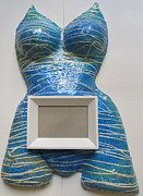 Frame Sculptures - Blue With White Lines Body Mask by Dedo Cristina
