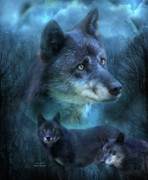 Animal Mixed Media Metal Prints - Blue Wolf Metal Print by Carol Cavalaris