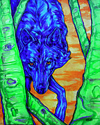Yellowstone Paintings - Blue Wolf by Derrick Higgins