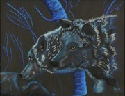 Photographs Pastels - Blue Wolves by Mayhem Mediums