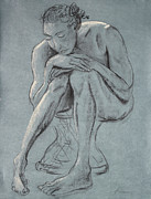 Blue And Gray Drawings - Blue Woman of Melancholy by Asha Carolyn Young