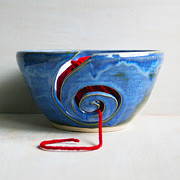 Spiral Ceramics - Blue Yarn Bowl Handmade Ceramic Knitting Bowl by Sheila Corbitt