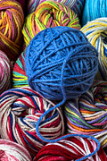Crafts Photos - Blue yarn by Garry Gay