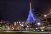 Night Scenes Framed Prints - Blue Zakim 2 Framed Print by Joann Vitali