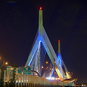 Highway Lights Prints - Blue Zakim Print by Joann Vitali
