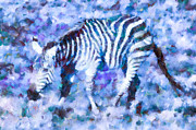 Stripes Mixed Media - Blue Zebra by Priya Ghose
