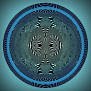 Round Digital Art - Blue Zebra by Visual Artist  Frank Bonilla