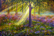 Kinkade Framed Prints - Bluebell Woods Framed Print by Ann Marie Bone