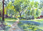 Bluebell Woods  Thank You Print by Carol Wisniewski