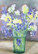 Flower Still Life Painting Framed Prints - Bluebells and Yellow Flowers Framed Print by Sophia Elliot
