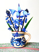 Decoupage Art - Bluebells in an Old Jug by John Tidball