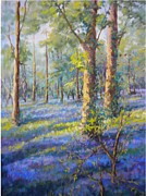 Woodland Pastels Originals - Bluebells in Spring by Heather Harman