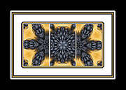 Abstract Blueberries Framed Prints - Blueberries and Cream Kaleidoscope Triptych Framed Print by Barbara Griffin