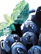 Huckleberry Pastels Prints - Blueberries in the snow Print by Michael Amos