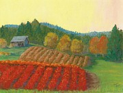 Autumn Prints Pastels Posters - Blueberry Farm on 99 Poster by Naomi Ball