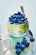 Fruit Still Life Digital Art Posters - Blueberry Morning Poster by Jane Schnetlage