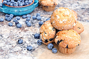 Goods Framed Prints - Blueberry Muffins and Berries Framed Print by Stephanie Frey