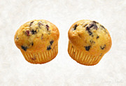Single Object Painting Posters - Blueberry Muffins Poster by Danny Smythe