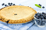 Round Shell Photo Posters - Blueberry pie Poster by Elena Elisseeva