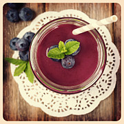 Doily Framed Prints - Blueberry smoothie retro style photo.  Framed Print by Jane Rix
