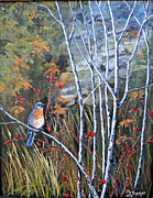Bluebird Painting Originals - Bluebird and Rose Hips by Julie Townsend