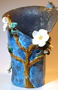 Glass Ceramics - Bluebird dogwood vase hand built in USA by Debbie Limoli
