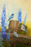 Floral Prints Painting Prints - Bluebird Family and Delphiniums Print by Johanna Lerwick