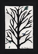Lino-cut Drawings Posters - Bluebird in a Pear Tree Poster by Barbara St Jean