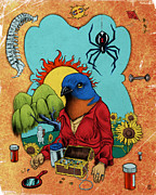 Medicine Bear Posters - Bluebird of Happiness Poster by Baird Hoffmire