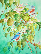 Eastern Bluebird Prints - Bluebirds In Flowering Dogwood Tree Print by Kathryn Duncan