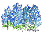 Kmcelwaine Posters - Bluebonnet The Texas Spring Celebration Flower Poster by Kathleen McElwaine