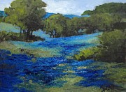 Fields Of Flowers Paintings - Bluebonnet Valley by Mary Scott