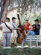 Original Oil Mixed Media - Bluegrass In The Park by Anthony Falbo