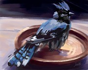 Bluejay Digital Art Posters - Bluejay Bathing Poster by John Little