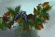 Pine Cones Painting Prints - Bluejays on Pine Branch Print by Nancy Long
