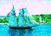 Halifax Art Galleries Framed Prints - Bluenose Schooner in Halifax Framed Print by John Malone