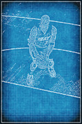Miami Heat Posters - Blueprint of D Wade Poster by Joe Myeress
