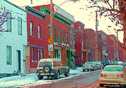 Pointe St. Charles Paintings - Blues And Brick Houses Winter Street Suburban Scenes The Point Sud Ouest Montreal Art Carole Spandau by Carole Spandau