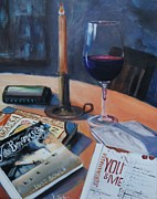 Wine-glass Paintings - Blues and Wine by Donna Tuten