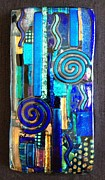 Gold Abstract Glass Art - Blues by Angela DeAnda