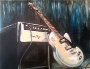 Amp Painting Framed Prints - Blues Guitar Framed Print by Candice Griffy