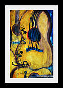 Acoustic Guitar Paintings - Blues Guitar by Linda Waidelich